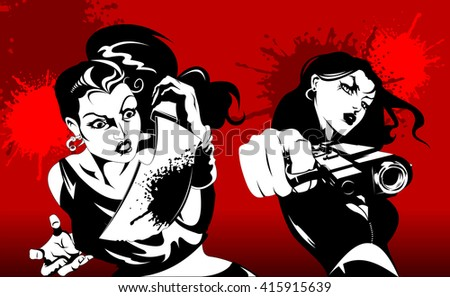 two woman in black suits with a weapon, vector, illustration