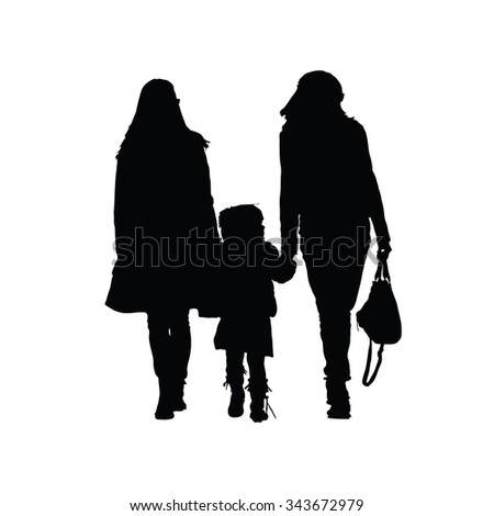 two woman with girl vector silhouette