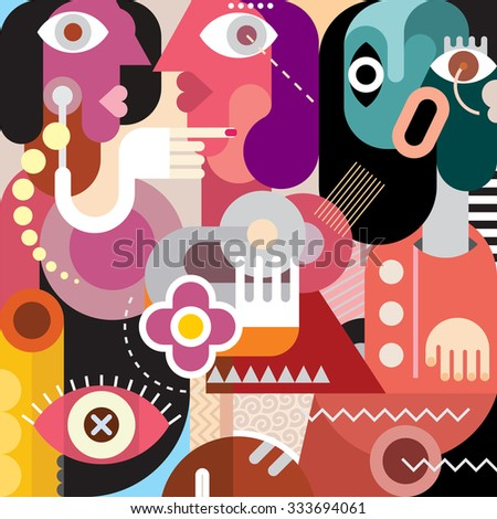 Two women are speaking in a whisper about the friend. Vector portrait of three beautiful women. Modern art picture, graphic design.  - stock vector