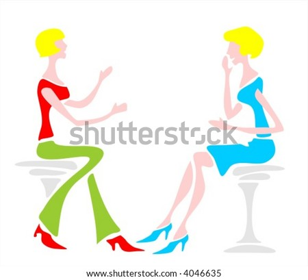 Two women sit on chairs and talk - stock vector