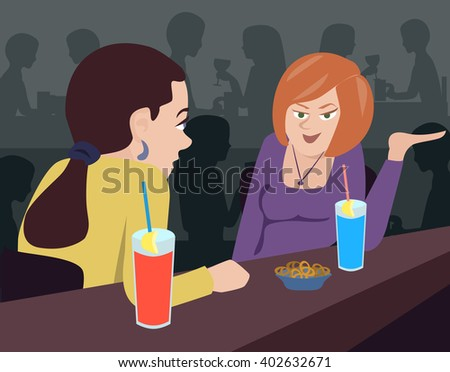 two women talking at bar counter - funny colorful vector illustration - stock vector