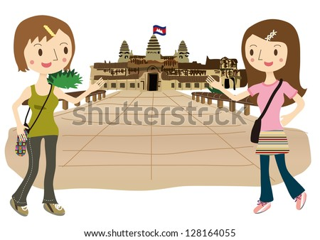 Two women to travel to Angkor Wat - stock vector