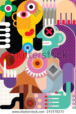 Two women vector illustration. Couple of two girl. Abstract art. - stock vector