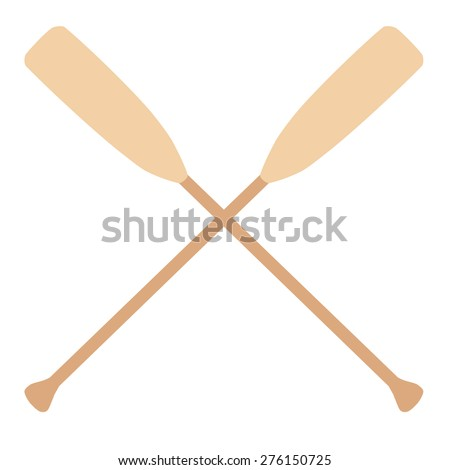 Two wooden crossed oars vector isolated. Rowing oars. Boat oar. Water sport - stock vector