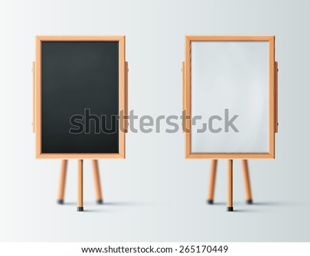 Two wooden easel, blank board, eps 10 - stock vector