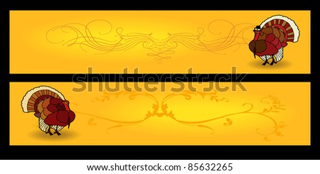 Two 940x198 Happy Thanksgiving banners, includes pilgrim turkey, basic turkey and fancy embellishment. - stock vector