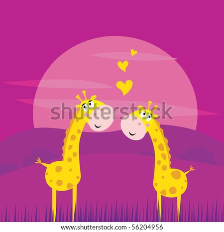 Two yellow african giraffes in love. Vector Illustration of yellow two giraffes inside savannna sunset - stock vector