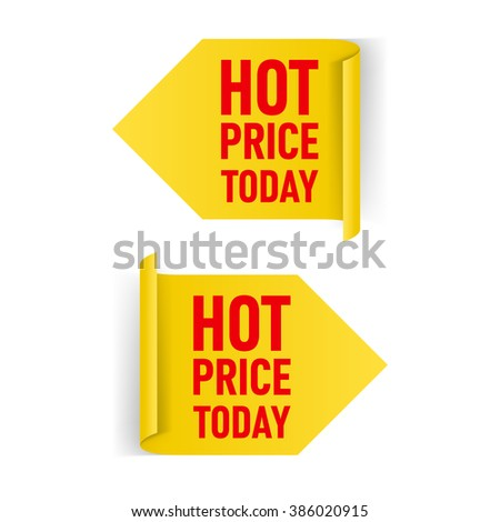 Two Yellow Arrow Paper Stickers on White Background - stock vector