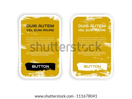 Two yellow vector grungy rectangular paper stickers / banners / badges / labels with hand painted / cracked paint worn out backgrounds