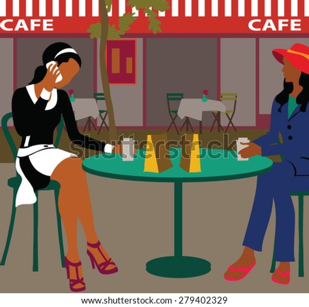 Two young beautiful girls sitting in urban cafe and drinking coffee   - stock vector