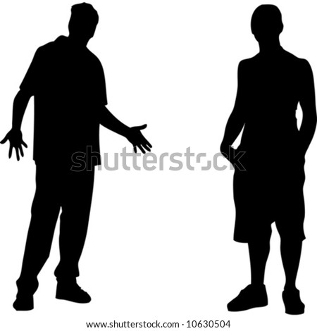 Two young boys vectors - stock vector