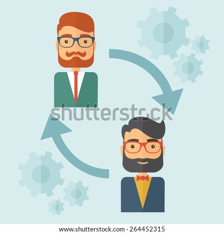 Two young Caucasian gentlemen with beard. Business exchange, emoloyee replacement concept. A contemporary style with paste palette, soft blue tinted background. Vector flat design illustration. Square - stock vector