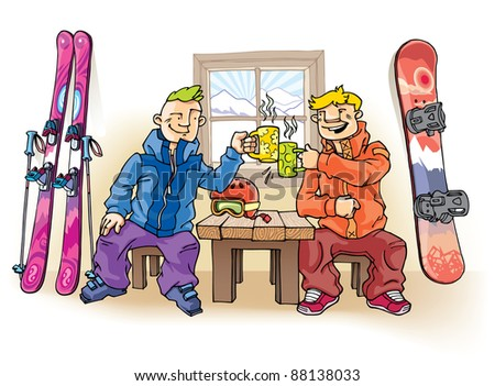 Two young friends - the skier and the snowboarder - are drinking something hot.