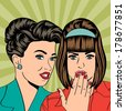 Two young girlfriends talking, comic art illustration in vector format - stock