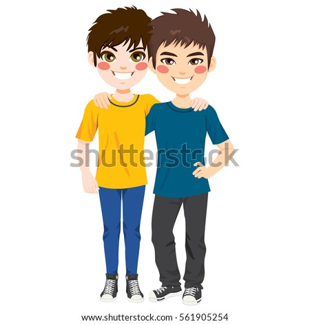 Two Young Happy Teenager Best Friends Stock Vector 561905254 ...
