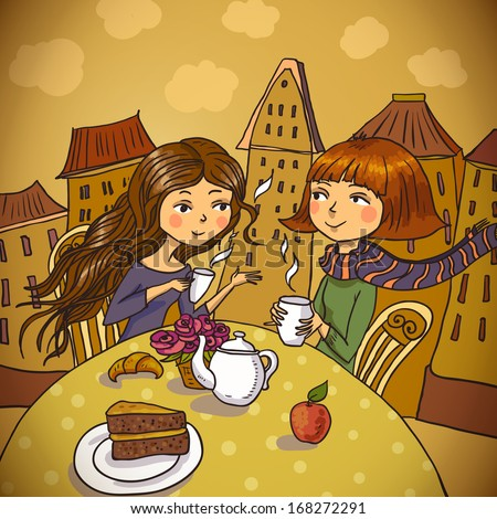 Two young women drinking coffee in cafe   - stock vector