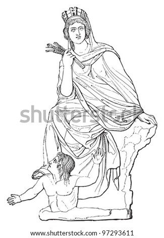 Tyche / vintage illustration from Meyers Konversations-Lexikon 1897 - stock vector