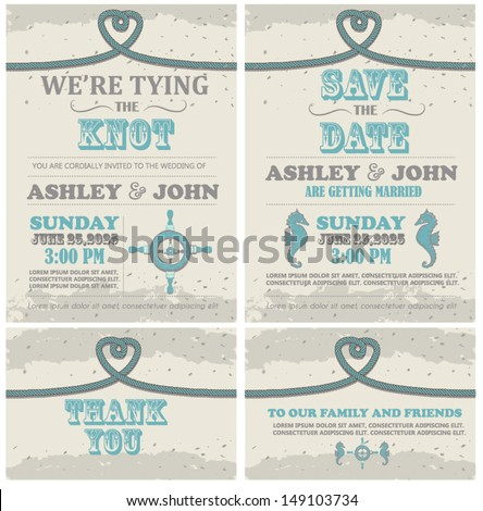 Tying The Knot Beach Wedding Invitation Card