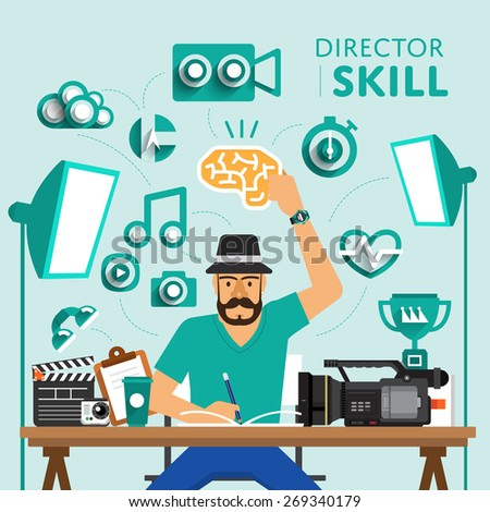 "Type of digital marketing show skill icon for ""Director"".Vector Illustrate. - stock vector"
