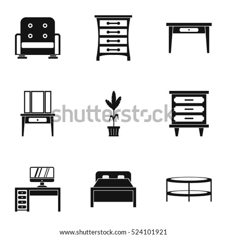 Type of furniture icons set. Simple illustration of 9 type of furniture  vector icons for