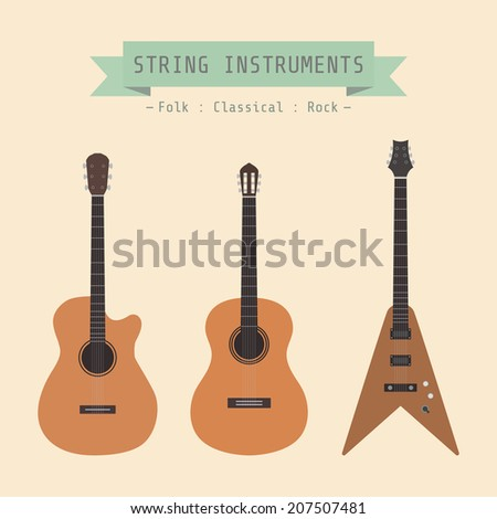 type of guitar, folk, classical, rock, flat style - stock vector