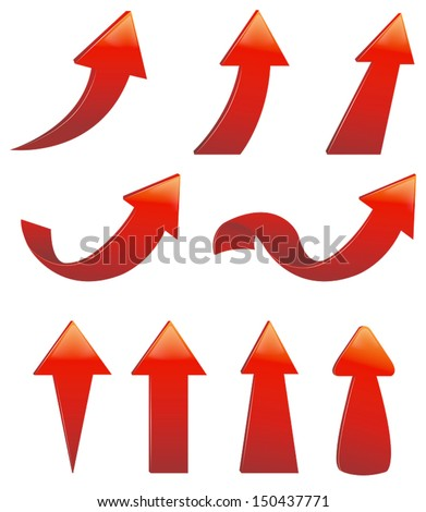Type of various red arrow set, create by vector - stock vector