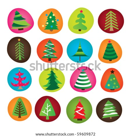 Type selection of christmas trees illustration in vector - stock vector