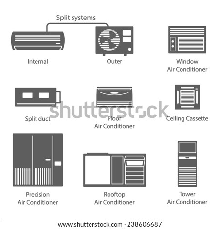 Types Air Conditioners Icons Set Vector Stock Vector
