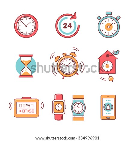 Types of alarms clocks, timers and watches set. Thin line art icons. Flat style illustrations isolated on white. - stock vector
