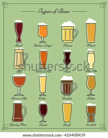 Types of beer line icons. Stout and lager, porter and ale, pilsner and cider craft beer - stock vector