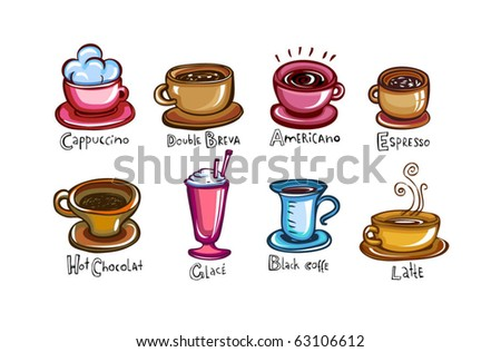 Types of coffee, set of 8 Cups of coffee - stock vector