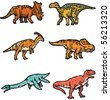Types of dinos illustration - stock photo