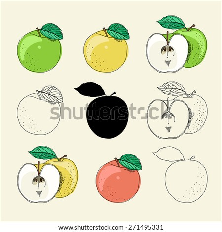 Types of drawing apples - stock vector