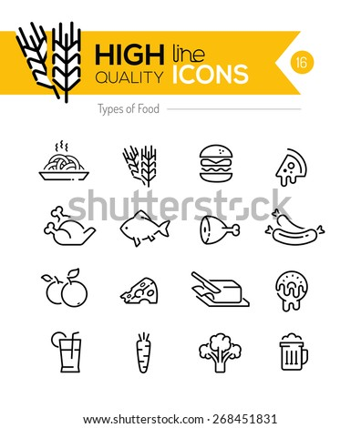 Types of Food line Icons including: meat, grain, dairy etc.. - stock vector