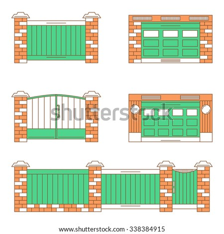 Types Of Gates, Garage Doors. Thin Line Icons Set Isolated On White Background
