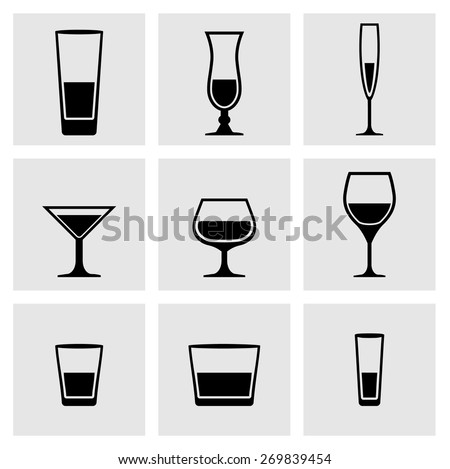 types of glass dishes set of black icons glass glass dishes