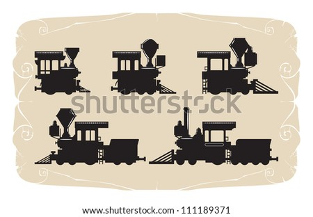 Types of locomotives. Toy, vector