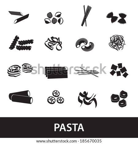types of pasta food eps10 - stock vector