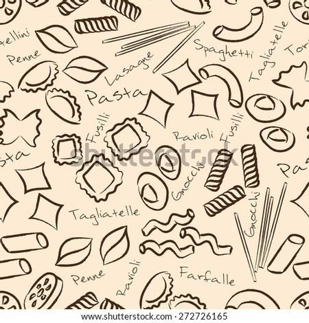 types of pasta food outline symbols seamless pattern eps10 - stock vector