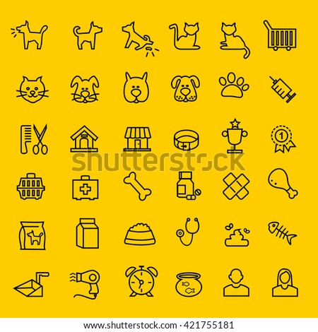 Types of pets icons - stock vector
