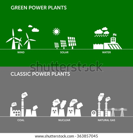 Types of renewable (wind, solar, water) and classic (coal, nuclear, natural gas) power plants. Energy industry, sustainable development and ecology concept.  - stock vector
