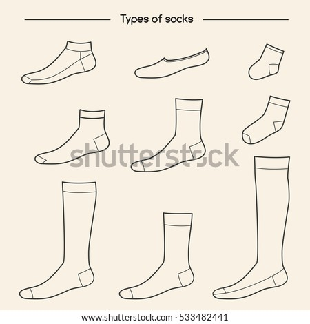 Types of socks collection. No-show, low-cut, extra low- - Types Socks Collection Noshow Lowcut Extra Stock Vector 533482441