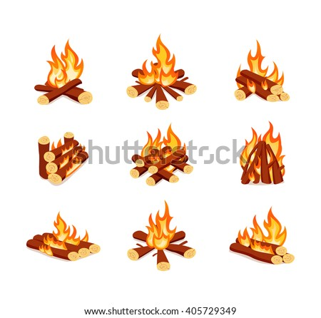 Types of tourist isolated campfires on white background. Vector set of bonfires in cartoon style.
