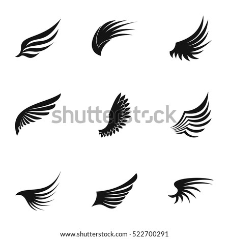 Types of wings icons set. Simple illustration of 9 types of wings vector icons for web