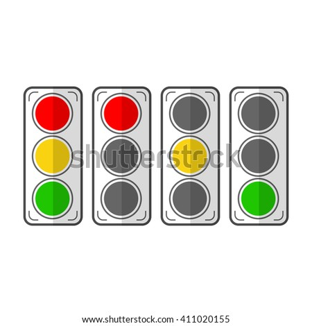 Types traffic lights. Flat icons. Vector - stock vector