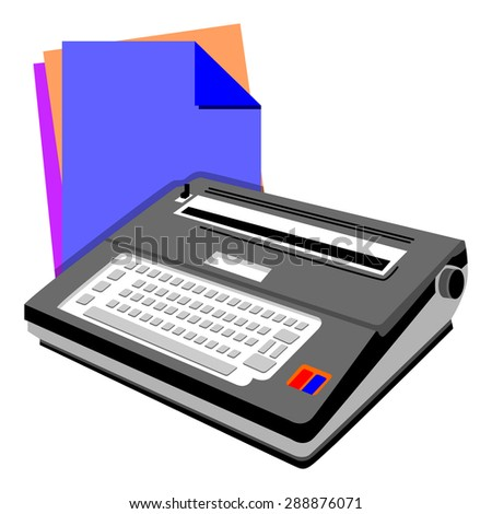 Typewriter and note paper - stock vector