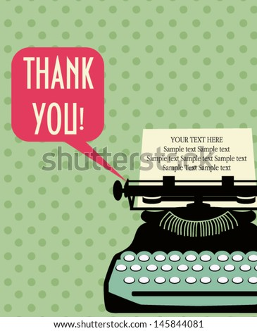 Typewriter card - stock vector