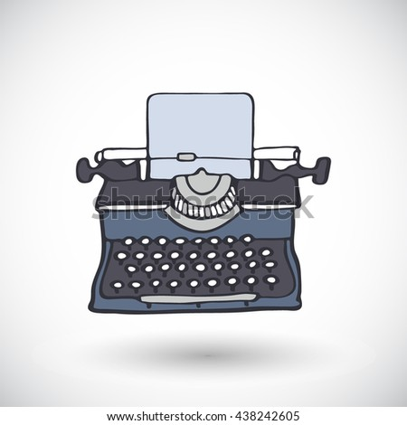 Typewriter. Hand-drawn doodle writer tool icon with round shadow. Vector illustration.