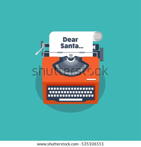 Typewriter in a flat style. Christmas wish list. Letter to Santa. New year. 2017. December holidays.