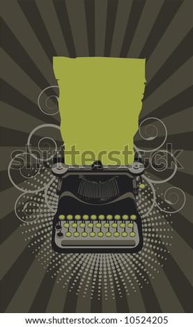 typewriter.Vector  - green - stock vector